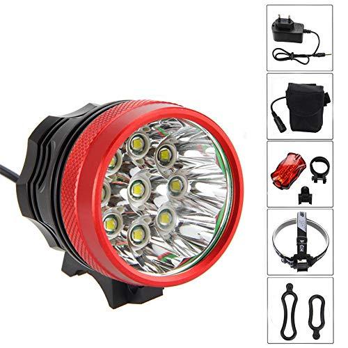 Wasserdicht Fahrradlicht 7200LM 9X CREE XM-L T6, Scheinwerfer,Kopflampen,Stirnlampe, Fahrrad Vorderes Leuchtturm, 3 Modes Mit 6 X 18650 Akku-Ladegerät Red