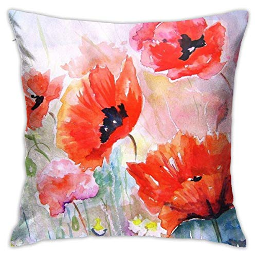 Throw Pillow Cover Cushion Cover Pillow Cases Decorative Linen Poppy Flowers for Home Bed Decor Pillowcase,45x45CM