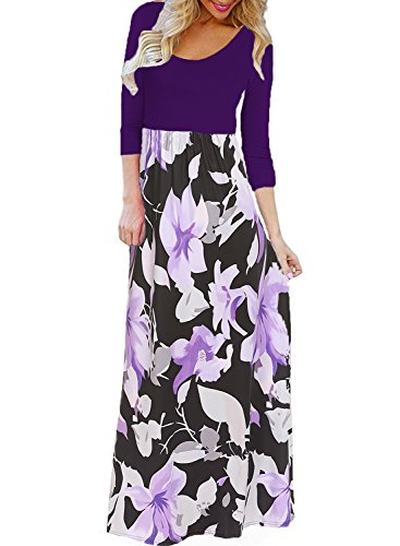 Bluetime Women's Floral Long Dress 3/4 Sleeve Casual Loose Fit Maxi Dress (Purple, M)