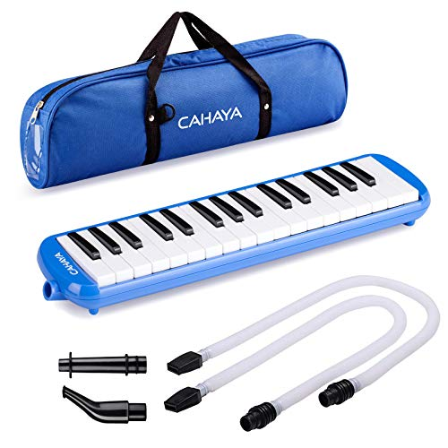 CAHAYAMelodica鍵盤ハーモニカ32鍵メロディオン立奏唄口卓奏唄口軽量本体ブルー【FDA認証取得】(本体+ケース+ホース+唄口)
