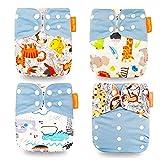 Wenosda 4PCS Baby Taschenwindeln Stoffwindel Waschbare wiederverwendbare Windeln Legen Sie eine All-in-One-Taschenwindel für die meisten Babys und Kleinkinder ein (Hellblau + Affenkatze Esel)