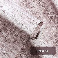 ウォールステッカーステッカー壁紙 PVC防水壁のためにレトロアンティーク木製の壁紙3Dステレオレストランコーヒーショップバーストライプウォールペーパー (Color : JD988 04, Dimensions : 0.53x10m)