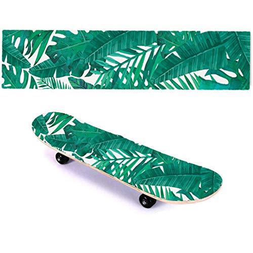 Suprcrne Skateboard Griptape, Professionelle Selbst wasserdichte Aufkleber DIY Persönlichkeit Sandpapier Passt die Meisten Roller Outdoor-Sportbedarf (Grünes Blatt)