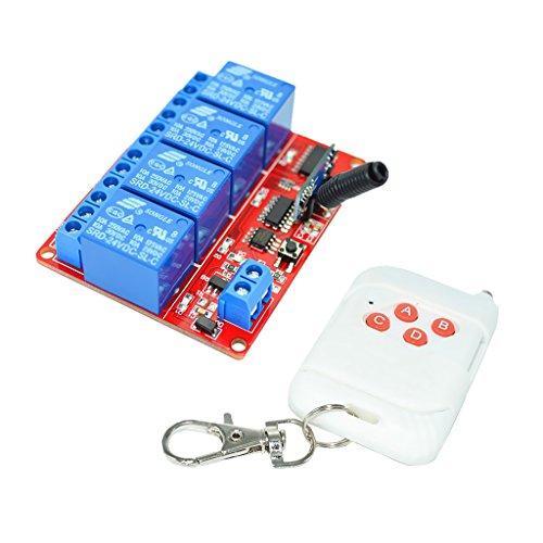 H HILABEE 24V 4CH Blanco Interruptor de Control Remoto de 4 Teclas Transmisor Receptor de 10m-30m