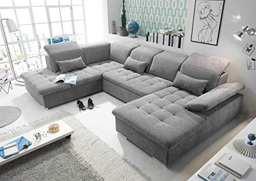lifestyle4living Wohnlandschaft (XXL) mit Schlaffunktion & Bettkasten, Grau, Microvelourstoff | Gemütliches U-Sofa mit Kopfstützen & Armlehnenverstellung