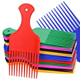 Amersumer 24 Pcs Wide Hair Pick Comb Plastic 6.5 Inch, Lift Hair Pick Comb for Curly Hairs, Smooth Afro Comb for Afro Hair, Hairdressing Tool for Salon, Home (Red, Yellow, Purple, Green, Blue, Black)
