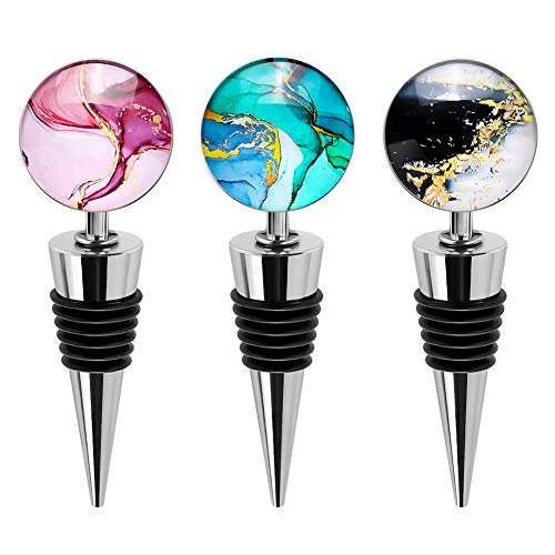 Soleebee3 Pack Decorative Wine Stoppers, Wine Bottle Stopper with Beautiful Art Glass,Beverage Bottle Stoppers For Gifts, Bar, Holiday Party, Wedding (Style J)