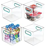 mDesign Juego de 4 cestas organizadoras para la cocina  Caja de plstico para el frigorfico  Organizador de nevera para guardar lcteos, frutas y otros alimentos  transparente/azul