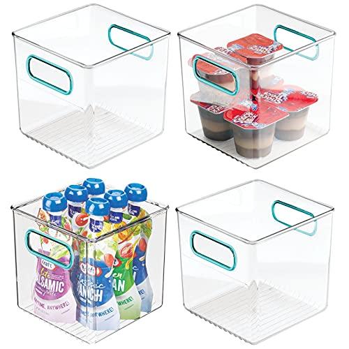 mDesign Juego de 4 cestas organizadoras para la cocina – Caja de plástico para el frigorífico – Organizador de nevera para guardar lácteos, frutas y otros alimentos – transparente/azul