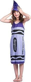 Halloween Kids Crayon Cosplay Costume Purple Robe Jumpsuit Xmas Girls Child Costume