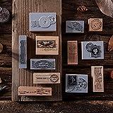 HXLFYM 7pcs matasellos Vintage Sellos de Madera Set, patrón de Cosecha Sellos de Goma de Goma Sello for el Bricolaje papelería Manual de Scrapbooking Diario Carta Decoración