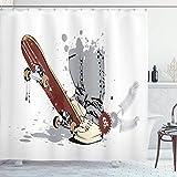 Alvaradod Teen Room Duschvorhang,Skateboard mit Jungenfüßen in der Sneakers and Jeans Illustration,Stoff Stoff Badezimmer Dekor Set mit,Grau Creme mit 12 Kunststoffhaken 180x210cm