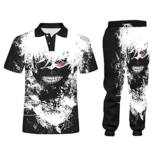 Schwarz Weiß 2-teiliges Set Outfits Hoodies Hosen Anzug Anime Trainingsanzug Herren Custom Logo Gr. XL, Plpa06214