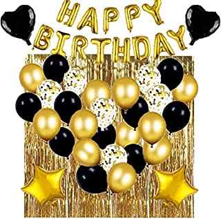 Black And Gold Birthday Party Decoration Two Set Happy Birthday Balloons Birthday Decoration Balloons Party Decoration Bal...
