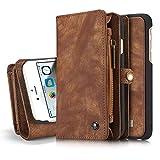 Reemplazo compatible For el caso del iPhone 6plus, Dos en Uno Multi-funcional caja de cuero hecha a mano de la vendimia con las ranuras de tarjeta de crédito y la cubierta desmontable, de primera cali