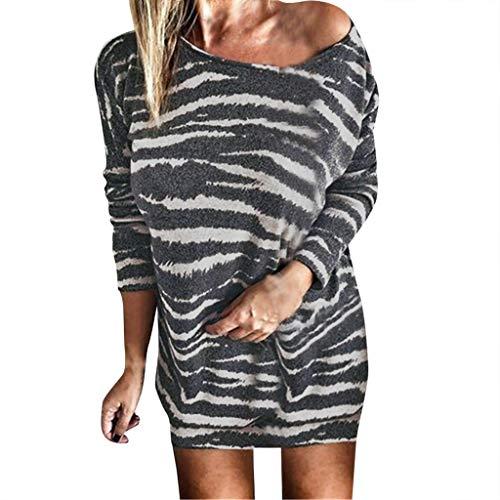 Floweworld Damen Langarm Tunika Tops Herbstmode Kalte Schulter Oansatz Streifen Gedruckt Casual Slim Fit Pullover Minikleider Plus Größe