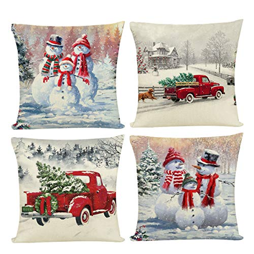 Joyshare Christmas Throw Pillow Covers 18'x 18' Set of 4 Winter Decor Snowman Home Decorations Pillow Covers Case Decorative Holiday Throw Pillows for Sofa, Couch, Bed and Car