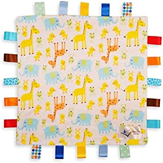 White Baby Comforter Blanket - Giraffe, Elephant and Chick Animals Security Blanket with Plain Yellow Textured Underside