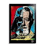 Darth Vader y OBI WAN Kenobi de Star Wars (La Guerra de Las Galaxias) - Pintura Enmarcado Original, ...