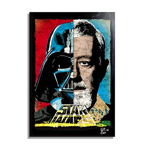 Darth Vader und Obi Wan Kenobi aus Star Wars - Original gerahmt Fine Art Malerei, Poster, Leinwand, Artwork, Druck, Plakat, Leinwanddruck, Film, Science Fiction