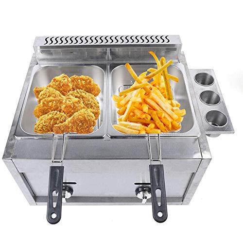 Commercial Countertop Gas Fryer 2 Baskets Fryer Kitchen 6L*2 Liquid Propane/Natural Gas Commercial Countertop Gas Fryer Deep Fryer Combined Fryer Set 2 Baskets Propane