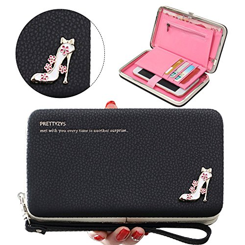 Geldbörse Damen, Multifunktions PU Leder Portemonnaie Handtasche Hand Seil Geldbeutel für iPhone Huawei Samsung Telefon