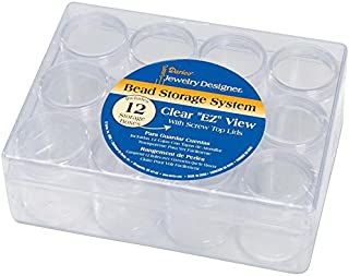 """Darice Clear Bead Organizer Storage Case, Clear Bead Holder with 12 Small Containers,  6.25"""" x 4.75"""" x 2.08"""""""
