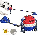 WATLIFE Dog Chewing Toy Aggressive Chewers with Suction Cup Cotton Rope Squeaky Ball Tug Toy for Teeth Cleaning Puppy Training Treats Food Distribution 2021 Version with Floor Sticker (Dark Blue)