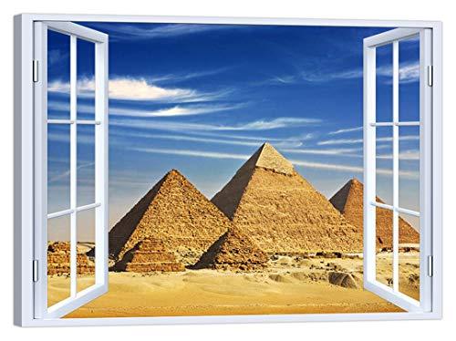LuxHomeDecor - Cuadro para Ventana, diseño de pirámides Egipcio, 100 x 75 cm, impresión sobre Lienzo con Marco de Madera, decoración Moderna