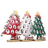 ROSENICE Arbre de Noël Mini Sapin de Noël en Bois avec Suspensions Décoration (Vert) - Un Pièce