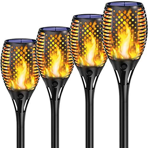 Shinmax Solar Flammenlicht IP65 Wasserdicht 33LED Solarleuchte Garten Fackeln,Automatische Ein/Aus Weihnachten Deko Straßenlaterne für Festival Solar Gartenfackeln für Garten,Balkon,Auffahrt,Rasen