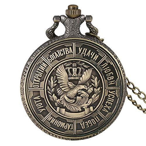 YJRIC Taschenuhr Retro russische Münze Replik geprägtes Metall Quarz Taschenuhr Bronze Anhänger Halskette antike Münzen Uhr Geschenke für Männer Frauen