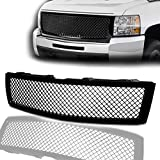 ECOTRIC Front Bumper Grille Grill Hood ABS Black Mesh Compatible With 2007-2013 Chevy Chevrolet Silverado 1500