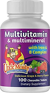 Uncle Moishy Multivitamin & Multimineral with Iron & B Complex Grape & Berry Flavors 100 Chewable Tablets