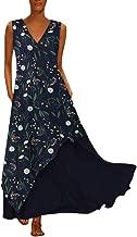 Qingell Women Bohemia Long Dress Plus Size Sleeveless Striped Beach Butterfly Floral Printed Printed Summer Swing Dress