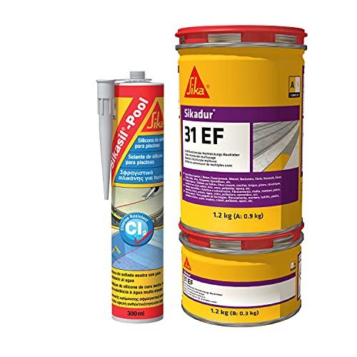 Lote 1 cartucho Silicona para juntas en piscinas Sikasil Pool Gris, 300ml y +1 Adhesivo estructural y mortero de reparación Sikadur 31 EF+ Gris, 1,2kg