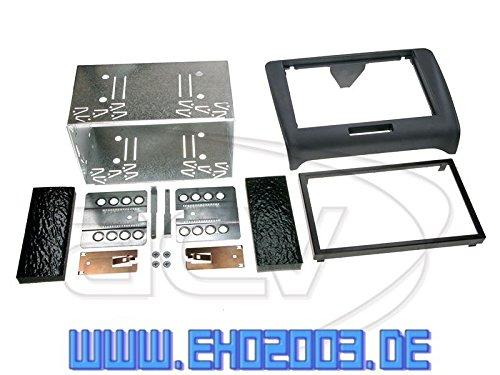 Set di montaggio autoradio 2 DIN con mascherina e cavo di collegamento radio, adattatore per antenna, set completo per Audi TT 8J 04/2006-03/2014, nero, incluso adattatore per sistema attivo