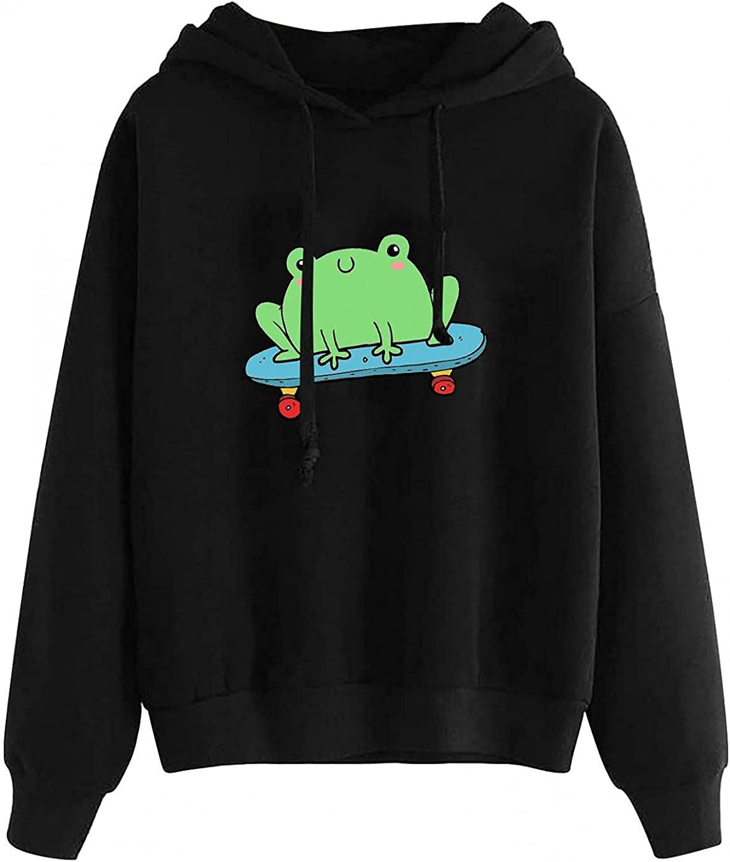 UOCUFY Hoodies for Women, Womens Cute Sweatshirts Skateboarding Frog Casual Long Sleeve Comfy Hoodie Pullover Tops