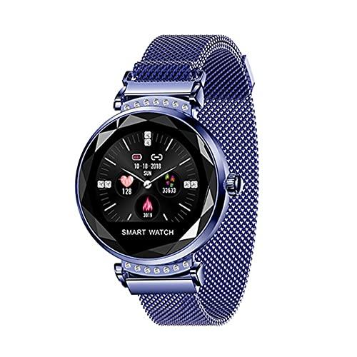 H2 New Luxury Smart Fitness Pulsera Mujeres Presión Arterial Monitoreo Monitoreo Morrido Regalo de Lady Watch para Amigo + Caja (Color : Blue)