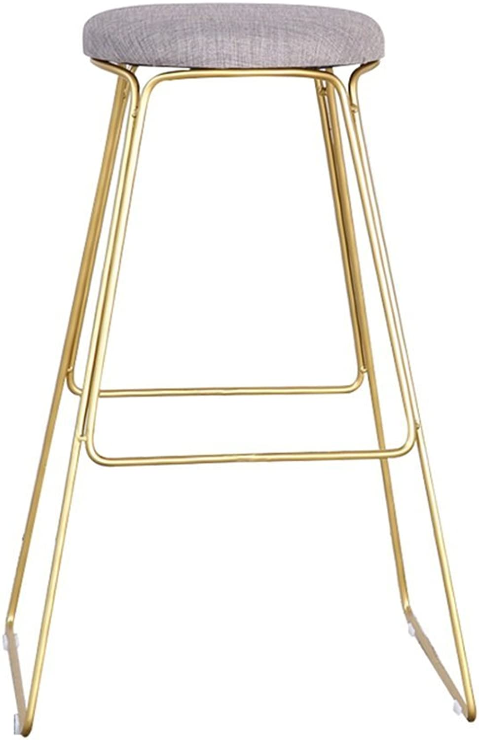 High Stool Bar Kitchen Breakfast Stool Dining Chair Padded Seat Tall Chair Bar Stool Counter Chair gold (Size   65CM)