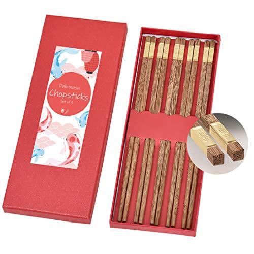 Dakimasu Essstäbchen Set – 5 Paare – Premium Stäbchen aus Holz – Ideale Chopsticks für Gerichte aus der asiatischen Küche – Klassisches und Edles Design – Spülmaschinenfest