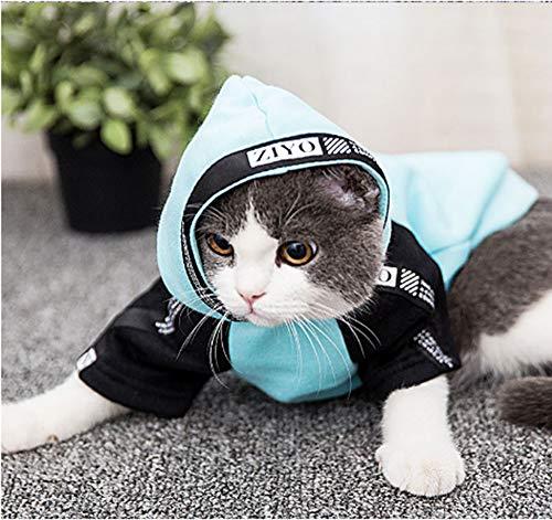 Ropa para gatos, primavera y verano, sección delgada, ropa de dos puntas, gatito, títere, suéter, ropa británica corta para mascotas, sudadera con capucha de primavera y otoño para gatos (XS, azul)