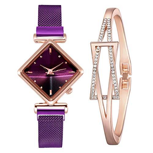 yuge Reloj de cuarzo con esfera cuadrada de diamante para mujer, reloj de cuarzo magnético, regalo de diamante simple, morado