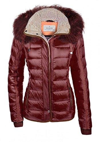 MILESTONE dames donsjack gewatteerde winter jas Tina roze geel bruin taupe bordeaux rood capuchon bontkraag gevoerd maat 36-46