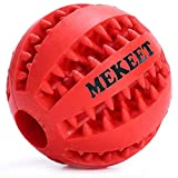 MEKEET Pet Ainimo Dog Ball Giocattolo Non tossico Bite Resistente Gomma Toy Balls Dog Pet Pulizia Chew Training Tooth Ball 2.7 in (Red)