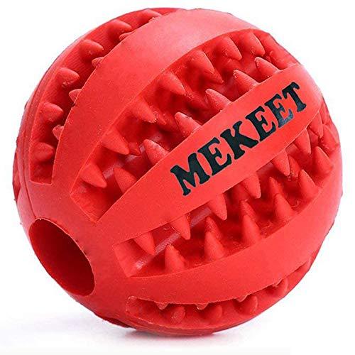 Mekeet Chien Jouet Balle Animaux Pet Chien Chat Jouet à mâcher en caoutchouc robuste Balle de jeu pour chien Nettoyage de Dent,Rouge