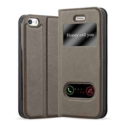 Cadorabo Custodia Libro per Apple iPhone 5 / iPhone 5S / iPhone SE in Bruno Pietra - con Funzione Stand e Chiusura Magnetica - Portafoglio Cover Case Wallet Book Etui Protezione