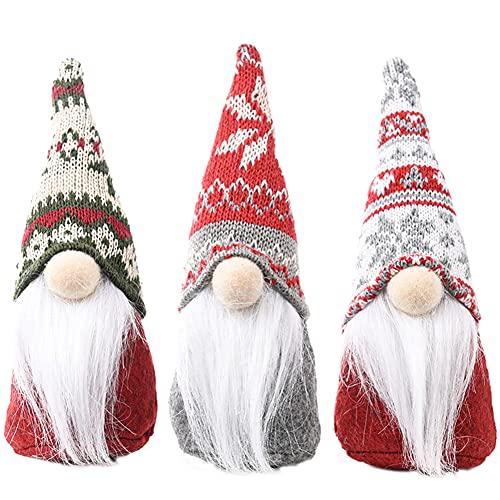 Simmpu Gnomos Navidad, 3 Piezas Peluche Navidad Juguetes Gnomo Muñeca de Gnomo de Felpa, Adornos de Papá Noel para Navidad, Adornos de Navidad para Mesa para Hogar Decoración