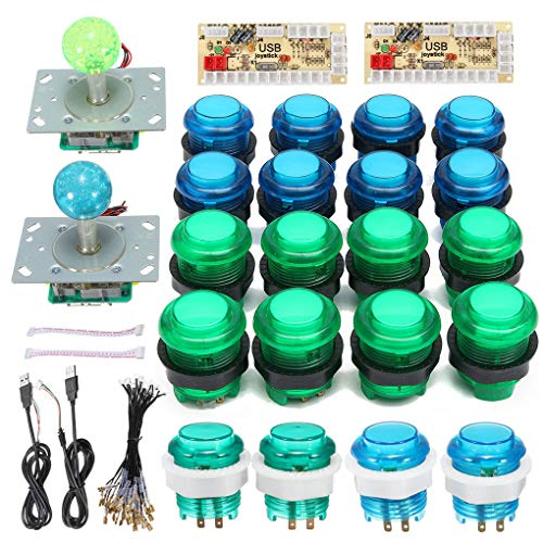 Floridivy 2 spelers Arcade Game Controller DIY Parts bouwpakket, Arcade Set USB PC Glowing Joystick Encoder 20st drukknoppen Kit