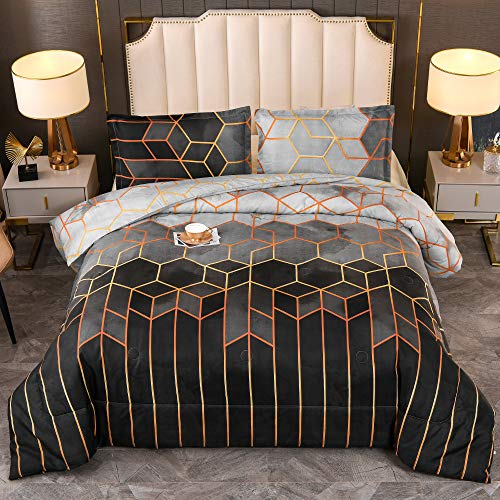 YEARNING Bed Comforter Queen Set Black Marble Print Geometric Design (Watercolor Print, Not Stains), Modern Trendy All Season Bedding Set, Matching Pillow Sham
